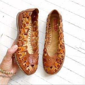 PIKOLINOS brown leather woven slip ons.